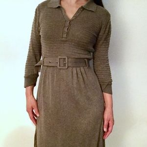 MNG belted knitted dress in taupe. Long sleeve.